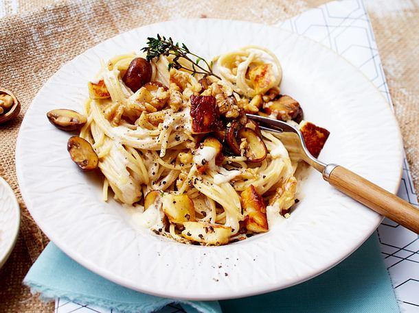 Spaghetti mit Pilzen und gebratenem Halloumi Rezept