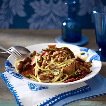 Spaghetti mit Pilzen und Speck Rezept