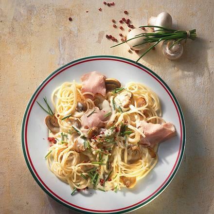 Spaghetti mit Puten-Pilz-Soße Rezept