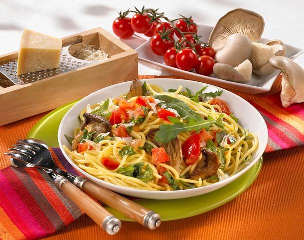 Spaghetti mit Rauke und Pilzen Rezept