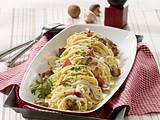 Spaghetti mit Sahne-Pilz-Soße und Salami Rezept