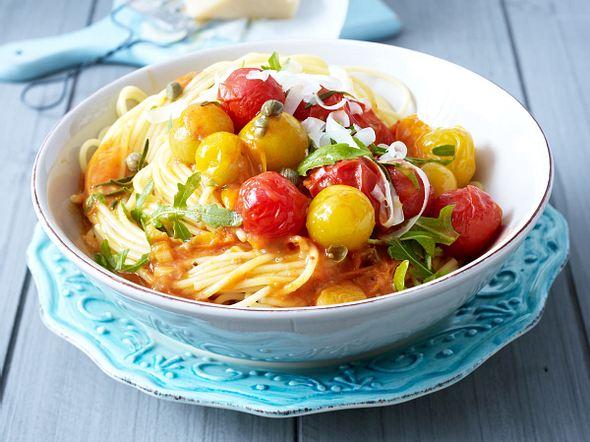 Spaghetti mit Schmortomaten Rezept
