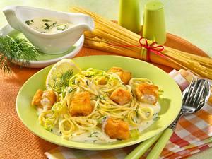 Spaghetti mit Seelachsfilet Rezept