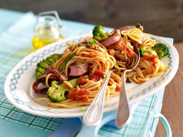 Spaghetti mit Steakstreifen Rezept