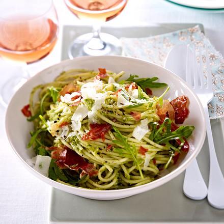 Spaghetti mit Tapenade und Landschinken Rezept