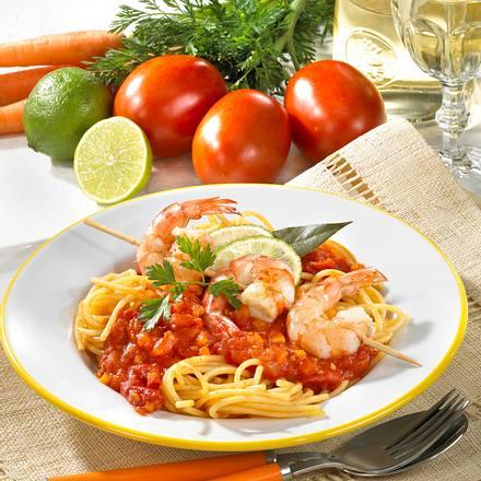 spaghetti mit tomatenso e und garnelen spie e rezept chefkoch rezepte auf kochen. Black Bedroom Furniture Sets. Home Design Ideas