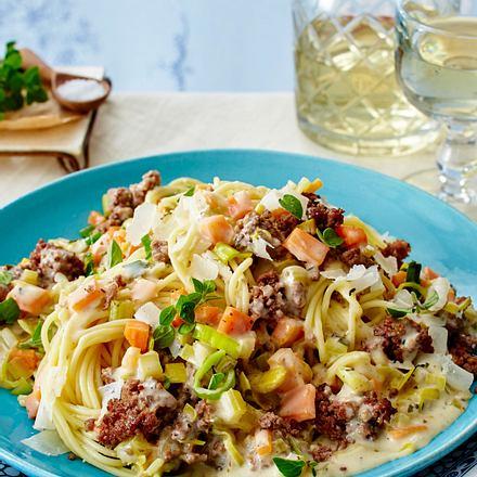 Spaghetti mit weißer Bolognese Rezept