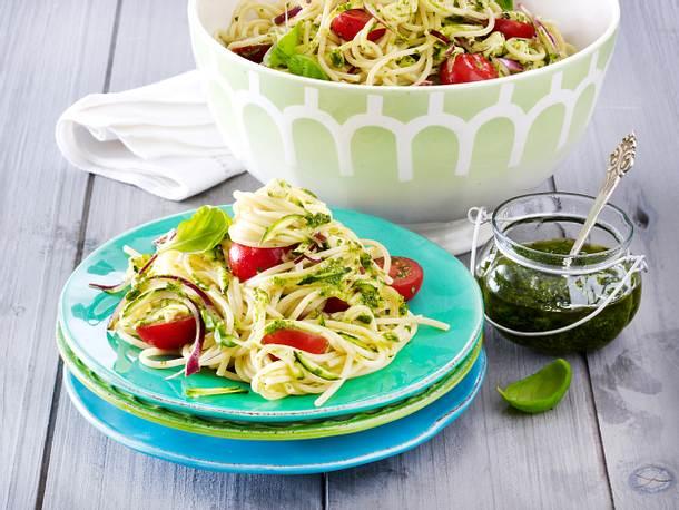 Spaghetti-Salat Caprese Rezept