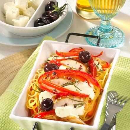 Spaghettini-Auflauf mit Schafskäse Rezept