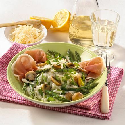 Spargel-Champignon-Risotto mit Schinken Rezept