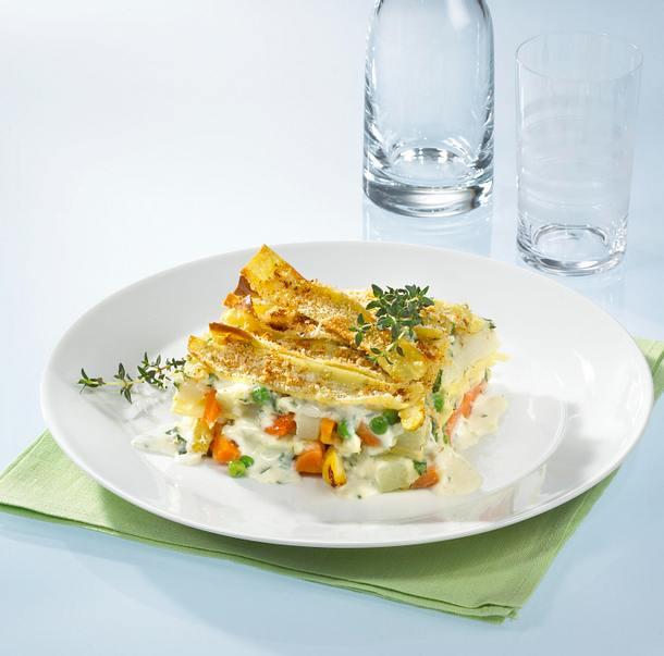 Spargel-Gemüse-Lasagne mit Bandnudeln Rezept