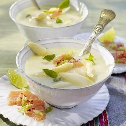 Spargel-Kokossuppe mit Lachs-Ceviche Rezept