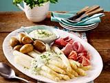 Spargel mit Frankfurter Grüner Soße und Schinken Rezept