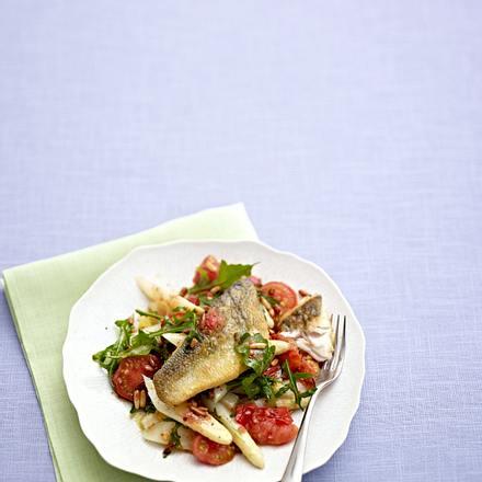 Spargel mit geschmorten Tomaten zu Zanderfilet Rezept