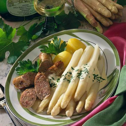 Spargel mit Hollandaise und Bratwurst Rezept