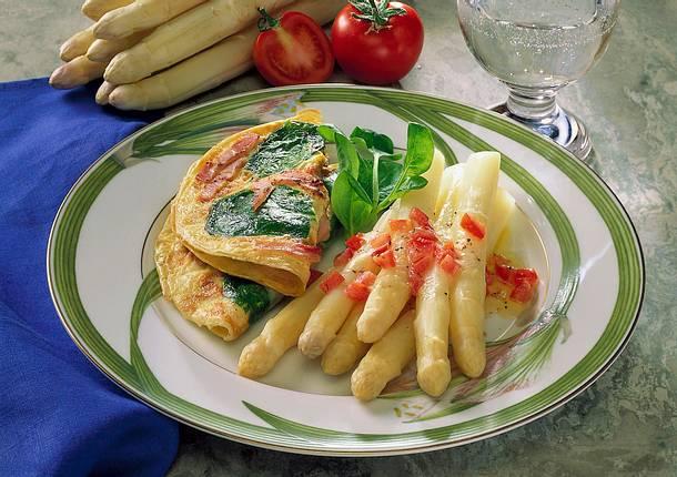 Spargel mit Schinken- Spinat-Pfannkuchen Rezept