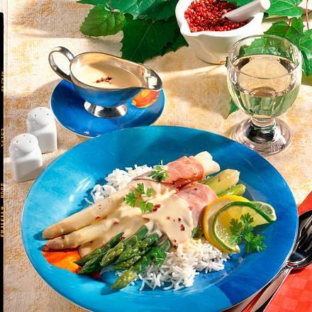 Spargel-Päckchen auf Reis (Diabetiker) Rezept