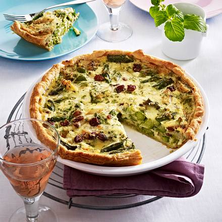 spargel quiche mit mozzarella rezept lecker. Black Bedroom Furniture Sets. Home Design Ideas
