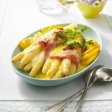 spargel schinken gratin mit hollandaise rezept chefkoch rezepte auf kochen backen. Black Bedroom Furniture Sets. Home Design Ideas