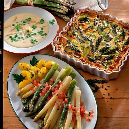 Spargel-Zucchini-Tarte mit Frischkäseguss Rezept