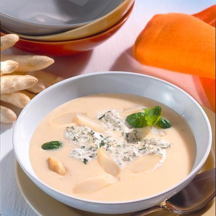 Spargelcreme-Suppe mit Kräuterrahm Rezept