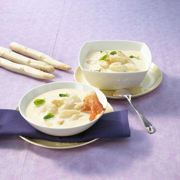 Spargelcremesuppe mit Bacon Rezept
