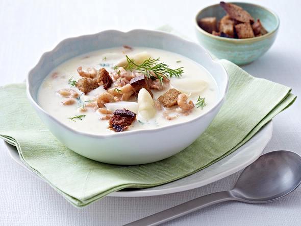 Spargelcremesuppe mit Krabben Rezept