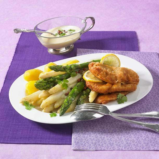 Spargelplatte mit Wiener Schnitzel Rezept
