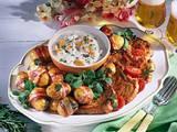 Speck-Kartoffeln mit Eier-Dip und Koteletts Rezept