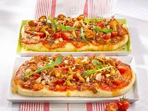 Speck-Pfifferlings-Pizza Rezept