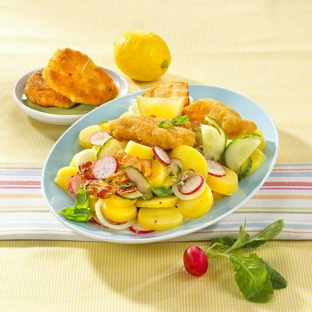 Speck-Radieschen-Kartoffelsalat mit kleinen Hähnchenschnitzeln Rezept