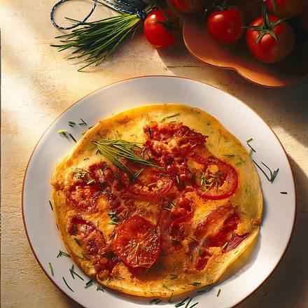 Speck-Tomaten-Pfannkuchen Rezept