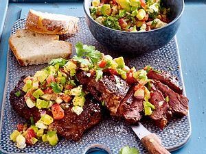 "Speedy Steak ""Gonzales"" mit Feta-Avocado-Salsa Rezept"