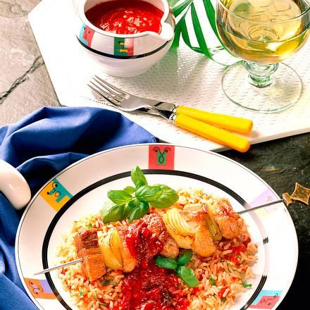 Spieß auf Tomatenrisotto Rezept
