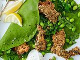 Spinat-Crepes mit Knusper-Pute und Edamame-Bohnen Rezept
