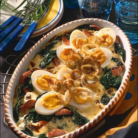 Spinat-Eier-Auflauf mit Käse Crème fraîche Rezept