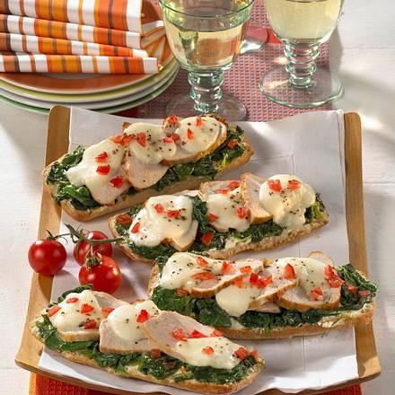 Spinat-Frischkäse-Baguette mit Pute Rezept