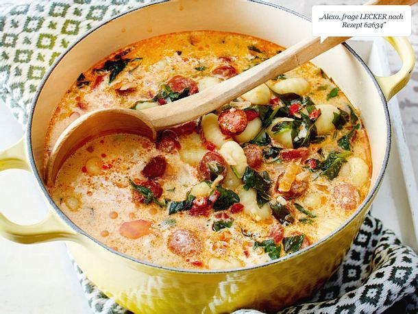 Spinat-Gnocchi-Eintopf mit Merguez Rezept