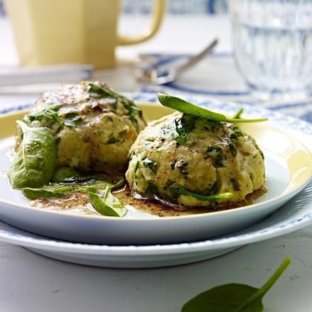 Spinat-Käse-Knödel mit brauner Butter Rezept