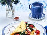 Spinat-Omelett mit Schafskäse (Aus vier mach eins) Rezept
