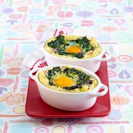 Spinat-Püree-Auflauf mit Ei Rezept