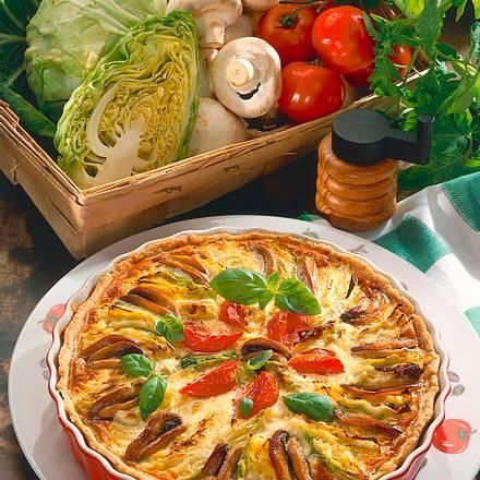 Spitzkohlquiche mit Champignons und Tomaten Rezept