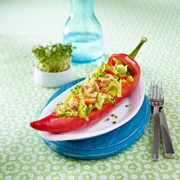 Spitzpaprika gefüllt mit Krabben-Mais-Salat Rezept
