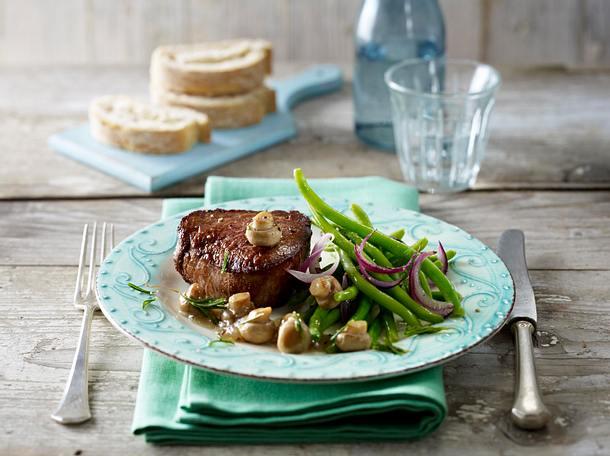 Steak mit Balsamicopilzen und Bohnen Rezept