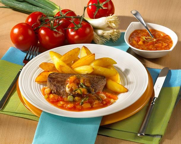 Steak mit Curry-Pfirsichsoße Rezept