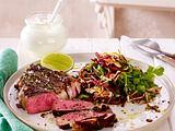 Steak mit Frischkäse und Cole Slaw Rezept