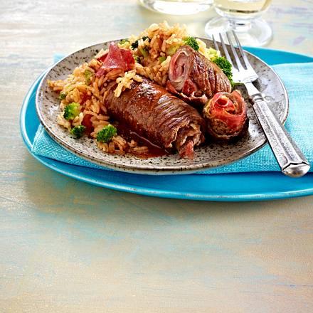 Steak-Schinken-Röllchen auf Brokkoli-Reis Rezept
