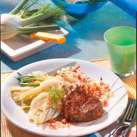 Steak zu Fenchel & Tomatenreis Rezept