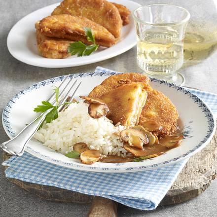 Steckrüben-Cordon Bleu mit Reis und Pilzen Rezept