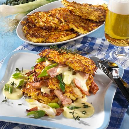 Steckrüben-Kartoffelpuffer mit Kasseler-Ragout Rezept